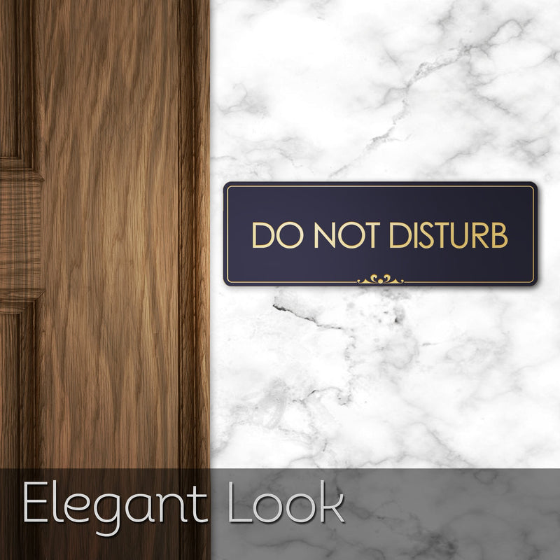 "Do Not Disturb - Laser Engraved Sign - 3""x9"" - .050 Brushed Silver Plastic"