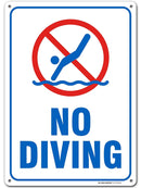 "No Diving, Swimming Pool Rules Sign - 10"" X 14"" .040 Heavy Duty Metal - Made in USA - UV Protected and Weatherproof - 21141E3-A4"