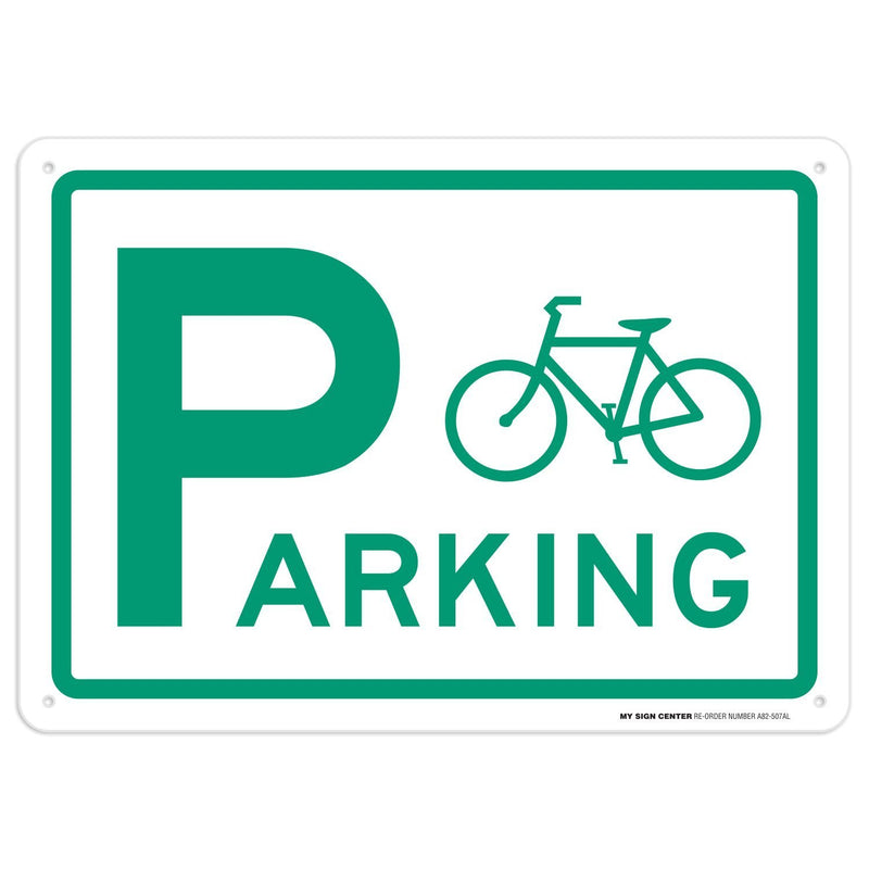 "Bicycle Parking Sign - 10""x14"" - .040 Rust Free Aluminum - Made in USA - UV Protected and Weatherproof - A82-507AL"