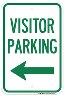 "Visitor Parking Left Arrow Sign - 12""x18"" - .063 Rust Free Aluminum - UV Protected and Weatherproof - A87-257AL"