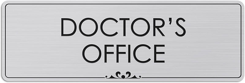 "Doctor's Office - Laser Engraved Sign - 3""x9"" - .050 Brushed Silver Plastic"