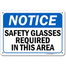 "Warning Notice Safety Glasses Required Sign, Made Out of .040 Rust-Free Aluminum, Indoor/Outdoor Use, UV Protected and Fade-Resistant, 7"" x 10"", by My Sign Center"