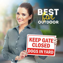 "Keep Gate Closed Sign Dogs in Yard, Made Out of .040 Rust-Free Aluminum, Indoor/Outdoor Use, UV Protected and Fade-Resistant, 10"" x 14"", by My Sign Center"
