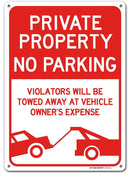"Private Property No Parking Sign Unauthorized Vehicles Will Be Towed, Made Out of .040 Rust-Free Aluminum, Indoor/Outdoor Use, UV Protected and Fade-Resistant, 10"" x 14"", by My Sign Center"