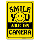 "Smile You're On Camera Sign, Indoor and Outdoor Use, Made Out of Rust-Free Metal, 10"" x 14"" - by My Sign Center, 21116E3-A4"