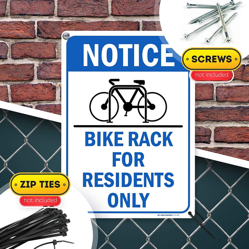 "Notice Bike Rack Sign Bicycle Parking for Residents Only Sign, 10"" x 14"" Industrial Grade Aluminum, Easy Mounting, Rust-Free/Fade Resistance, Indoor/Outdoor, USA Made by MY SIGN CENTER"