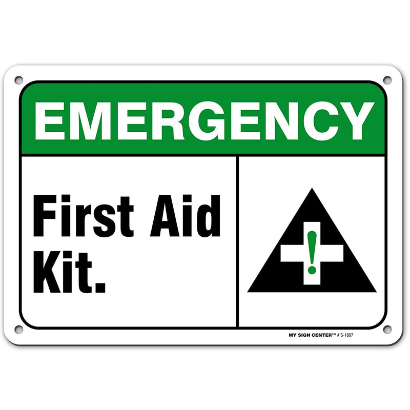"Emergency First Aid Kit Sign, Made Out of .040 Rust-Free Aluminum, Indoor/Signage or Use, UV Protected and Fade-Resistant, 7"" x 10"", by My Sign Center"