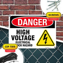 "Danger High Voltage Electrical Shock Hazard Sign, Made Out of .040 Rust-Free Aluminum, Indoor/Outdoor Use, UV Protected and Fade-Resistant, 10"" x 14"", by My Sign Center"