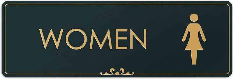 "Women Restroom - Laser Engraved Sign - 3""x9"" - .050 Black and Gold Plastic"