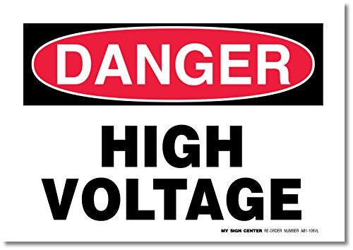 "Danger High Voltage Decal Sign - 10"" X 7"" - Self-adhesive 4 Mil Vinyl Decal - Indoor and Outdoor Use - A81-106VL"