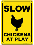 "Slow Chickens at Play Caution or Chicken Crossing Sign, Made Out of .040 Rust-Free Yellow Aluminum, Indoor/Outdoor Use, UV Protected and Fade-Resistant, 10"" x 14"", by My Sign Center"