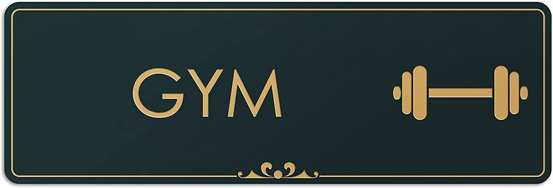 "Gym - Laser Engraved Sign - 3""x9"" - .050 Black and Gold Plastic"