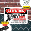 "Gun Warning Sign, Armed Homeowner Protecting Property, Made Out of .040 Rust-Free Aluminum, Indoor/Outdoor Use, UV Protected and Fade-Resistant, 10"" x 14"", by My Sign Center"