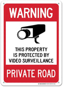 "Warning Private Road Sign - 14""x10"" .040 Rust Free Aluminum - Made in USA - UV Protected and Weatherproof - A82-462AL"
