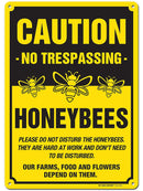 "Caution Bees Sign No trespassing Honey Bees at Work Made Out of .040 Rust-Free Yellow Aluminum, Indoor/Outdoor Use, UV Protected and Fade-Resistant, 10"" x 14"", by My Sign Center"
