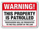"Warning No Trespassing Sign, Violators Will Be Prosecuted, This Property is Patrolled, Outdoor Rust-Free Metal, 10"" x 14"" - by My Sign Center, A82-431AL"