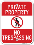 "Private Property No Trespassing Sign, Made out of .040 Rust-Free Aluminum, 12"" x 16"", Indoor/Outdoor Use, UV Protected and Fade-Resistant, By My Sign Center"
