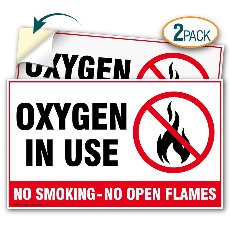 "(2 Pack) Oxygen in Use No Smoking No Open Flames Decal Sign - 3"" X 5"" - Self-Adhesive 4 Mil Vinyl Decal - Indoor and Outdoor Use - 21157H2-VL-2"