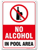 "No Alcohol Allowed Pool Rules Sign, Made out of .040 Rust-Free Aluminum, Indoor/Outdoor Use, UV Protected and Fade-Resistant, 10"" x 14"", By My Sign Center"
