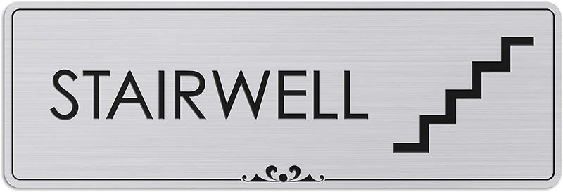 "Stairwell - Laser Engraved Sign - 3""x9"" - .050 Brushed Silver Plastic"