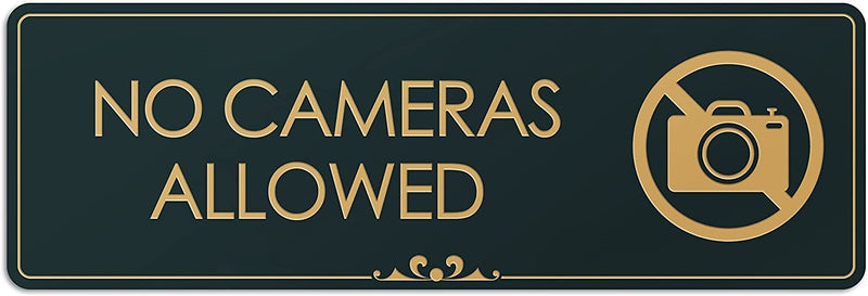 "No Cameras Allowed - Laser Engraved Sign - 3""x9"" - .050 Black and Gold Plastic"