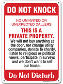 "Do Not Knock No Soliciting Sign for House Do not disturb, Made out of .040 Rust-Free Aluminum, Indoor/Outdoor Use, UV Protected and Fade-Resistant, 10"" x 14"", By My Sign Center"