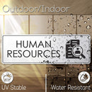 "Human Resources Sign for Office Door, 3"" x 9"" Brushed Metal Finish, Laser Engraved, Prestige Collection, USA Made by MY SIGN CENTER (Brushed Aluminum)"