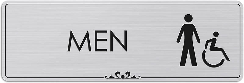 "Men Restroom Accessible - Laser Engraved Sign - 3""x9"" - .050 Brushed Silver Plastic"