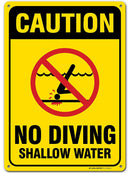 "Caution No Diving Shallow Water Sign, Made out of .040 Rust-Free Aluminum, Indoor/Outdoor Use, UV Protected and Fade-Resistant, 10"" x 14"", By My Sign Center"