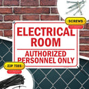"Electrical Room Authorized Personnel Only Sign, Made Out of .040 Rust-Free Aluminum, Indoor/Outdoor Use, UV Protected and Fade-Resistant, 10"" x 14"", by My Sign Center"