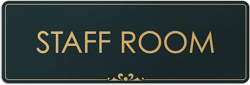 "Staff Room - Laser Engraved Sign - 3""x9"" - .050 Black and Gold Plastic"