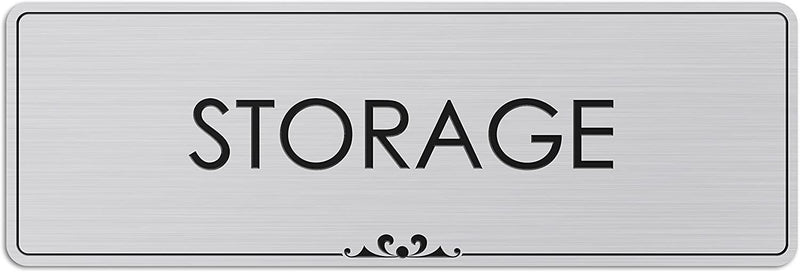"Storage - Laser Engraved Sign - 3""x9"" - .050 Brushed Silver Plastic"