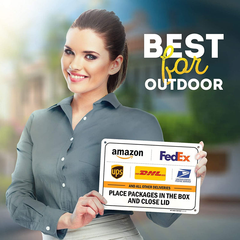 "Package Delivery Sign Instructions Amazon UPS FedEx USPS Delivery Box Sign,7"" x 10"" Industrial Grade Aluminum, Easy Mounting, Rust-Free/Fade Resistance, Indoor/Outdoor, USA Made by MY SIGN CENTER"