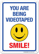 "You're Being Videotaped Smile Sign - 14""x10"" .040 Rust Free Aluminum - Made in USA - UV Protected and Weatherproof - A82-460AL"
