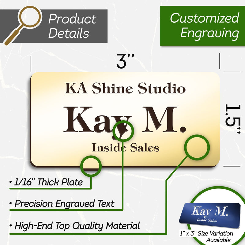 "Personalized Name Tags with Pin, 1.5"" x 3"", Pin, Magnetic or Adhesive Backing, Choice of 18 Colors, Laser Engraved, Classic Collection, USA Made By MY SIGN CENTER"