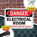 "High Voltage Electrical Room Sign, Danger Authorized Personnel Only, Made Out of .040 Rust-Free Aluminum, Indoor/Outdoor Use, UV Protected and Fade-Resistant, 7"" x 10"", by My Sign Center"