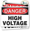 "(3 Pack) Danger High Voltage Decal Sign - 10"" X 7"" - Self-Adhesive 4 Mil Vinyl Decal - Indoor and Outdoor Use - A81-106VL-3"