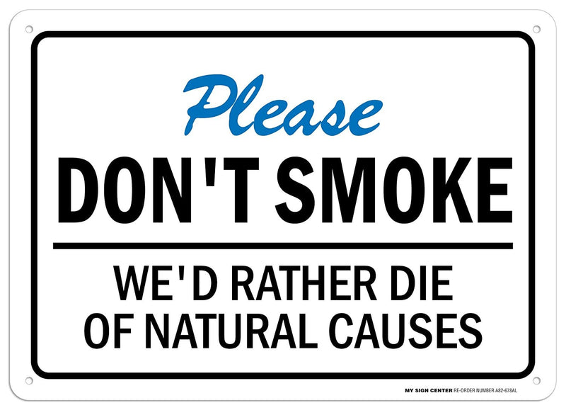 "Please Don't Smoke Sign - 10""x14"" - .040 Rust Free Aluminum - Made in USA - UV Protected and Weatherproof - A82-678AL"
