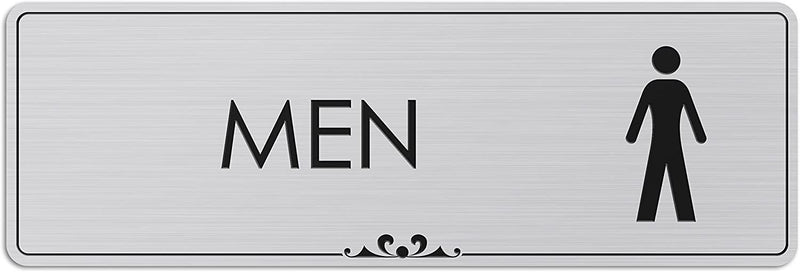 "Men's Restroom - Laser Engraved Sign - 3""x9"" - .050 Brushed Silver Plastic"