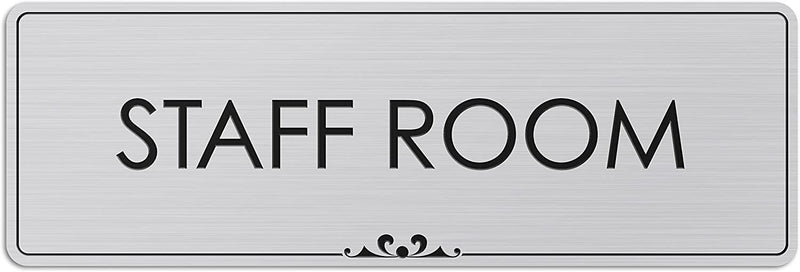 "Staff Room - Laser Engraved Sign - 3""x9"" - .050 Brushed Silver Plastic"