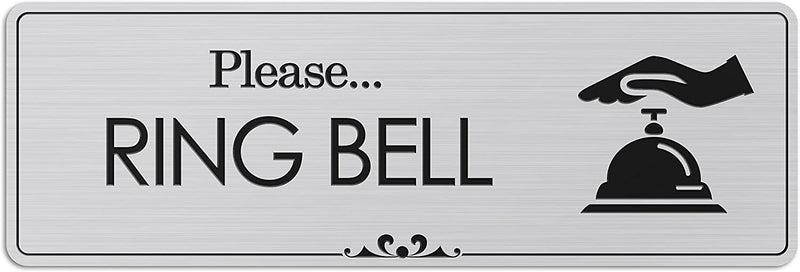 "Please Ring Bell - Laser Engraved Sign - 3""x9"" - .050 Brushed Silver Plastic"