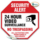(6 Pack) Security Alert Video Surveillance No trespassing Sign, Premium 4 Mil Self Adhesive Vinyl Decal, Indoor and Outdoor Use, by My Sign Center