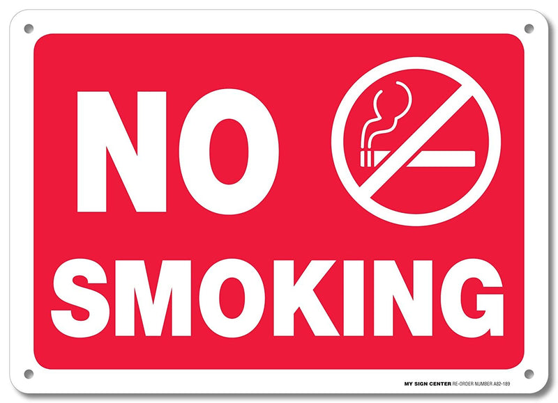 "No Smoking with Graphic Warning Sign - Avoid Smokers On Property - 10""x14"" - Made in USA - .040 Rust Free Aluminum - UV Protected and Weatherproof - A82-189AL"