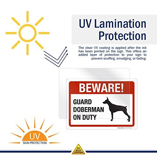 "Beware Guard Doberman On Duty Sign - 10""x14"" - .040 Rust Free Aluminum - Made in USA - UV Protected and Weatherproof - A82-510AL"