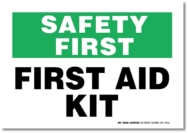 "First Aid Kit Decal Safety Sign - 10"" X 7"" - Made in USA - Self-Adhesive 4 Mil Vinyl Decal - Indoor & Outdoor Use - Easy to Apply - A81-144VL"