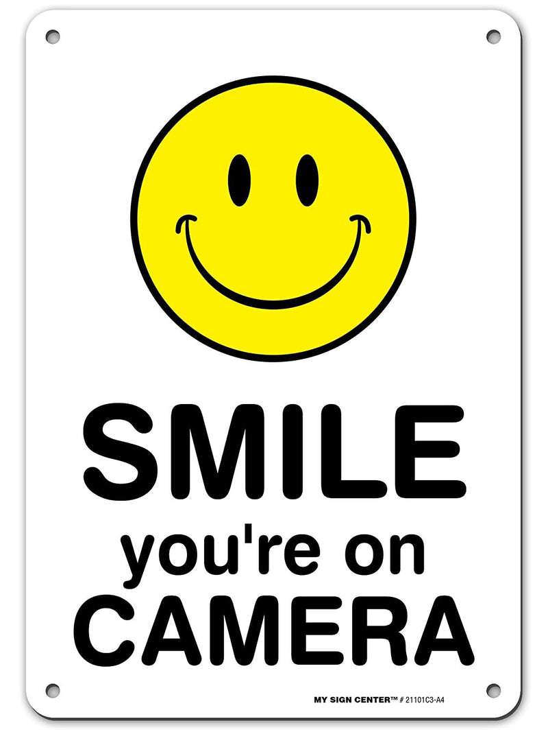 "Surveillance Camera Warning 'Smile You're On Camera Sign', Made Out of .040 Rust-Free Aluminum, Indoor/Outdoor Use, UV Protected and Fade-Resistant, 7"" x 10"", by My Sign Center"