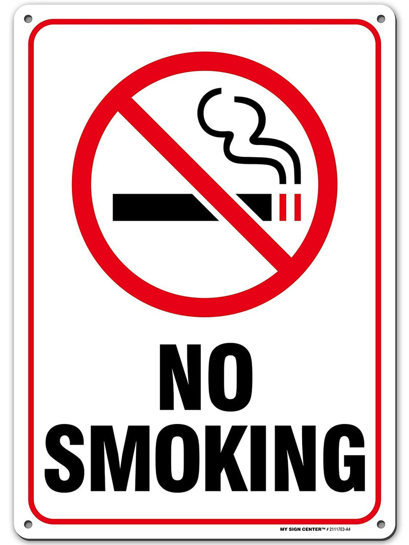 "No Smoking Sign, Outdoor Rust-Free Metal, 10"" X 14"" - by My Sign Center, 21117E3-A4"