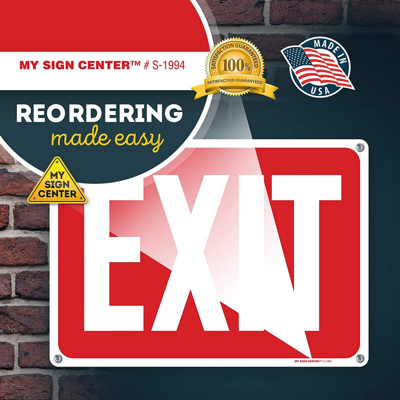 "Exit Sign for Business, Store and House Door, 10"" x 14"" Industrial Grade Aluminum, Easy Mounting, Rust-Free/Fade Resistance, Indoor/Outdoor, USA Made by MY SIGN CENTER"