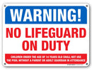 "Warning No Lifeguard on Duty Sign - Swim at Your Own Risk - 10"" x 14"" - Weatherproof with UV Protected Digital Printing - Pool Sign Made of 0.040"" Rust Free Aluminum - Made in The USA - A82-406AL"