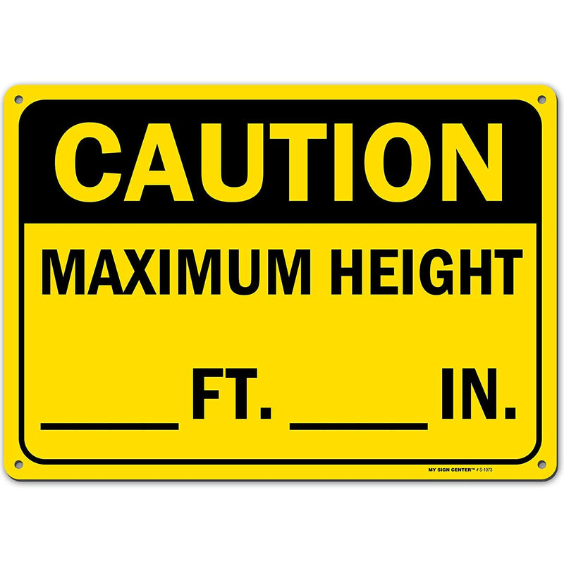 "Caution Maximum Height Ft_and in_ Low Clearance Sign to Write On, Made Out of .040 Rust-Free Yellow Aluminum, Indoor/Outdoor Use, UV Protected and Fade-Resistant, 10"" x 14"", by My Sign Center"